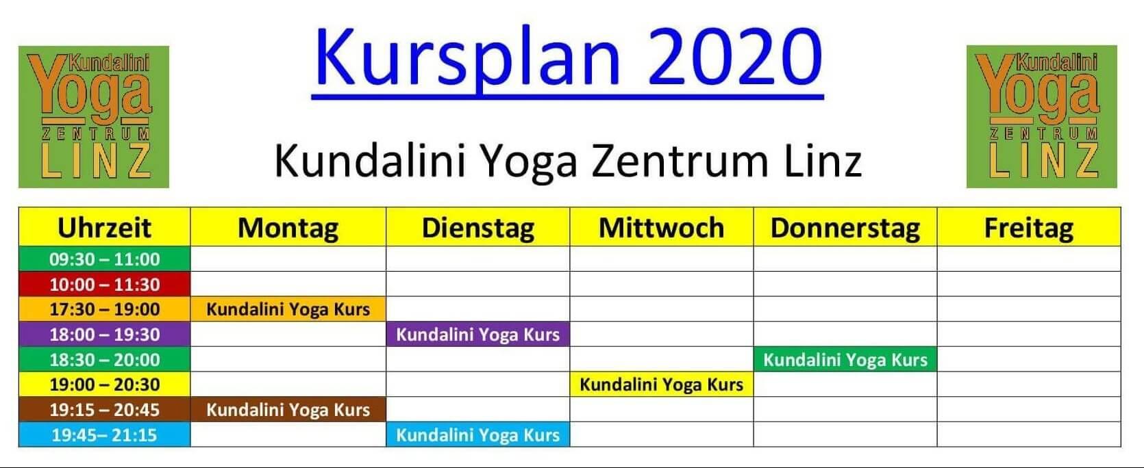 Yoga-Kursplan 2020